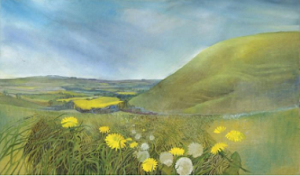 Wiltshire Landscape Martinsell with Dandelions
